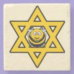 Jewish Bee Star of David Stone Coaster