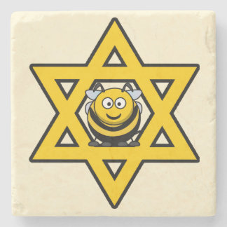 Jewish Bee Star of David Stone Coaster