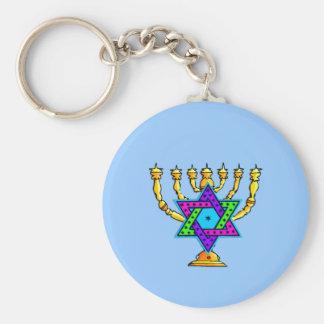 Jewish Candlesticks Basic Round Button Keychain