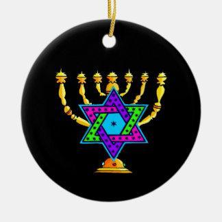 Jewish Candlesticks Ceramic Ornament