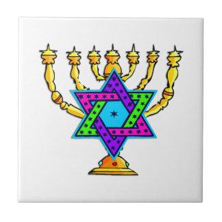 Jewish Candlesticks Ceramic Tile