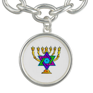 Jewish Candlesticks Charm Bracelet