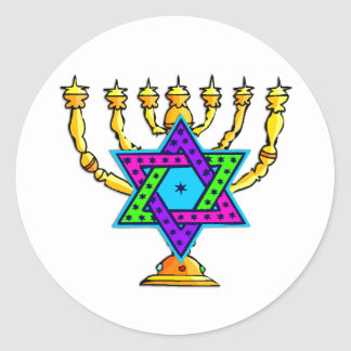 Jewish Candlesticks Classic Round Sticker