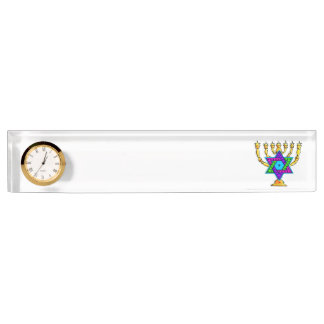 Jewish Candlesticks Desk Nameplate