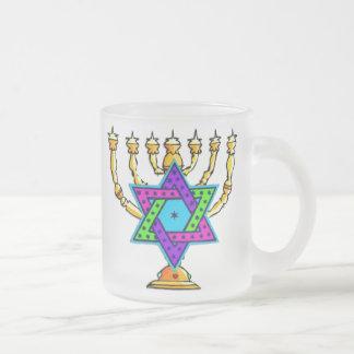 Jewish Candlesticks Frosted Glass Coffee Mug