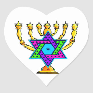 Jewish Candlesticks Heart Sticker