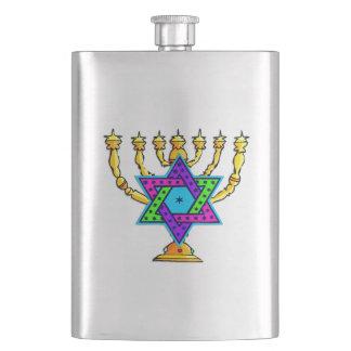 Jewish Candlesticks Hip Flask