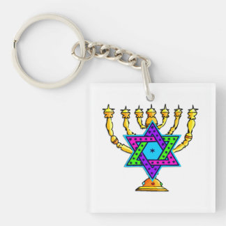 Jewish Candlesticks Keychain
