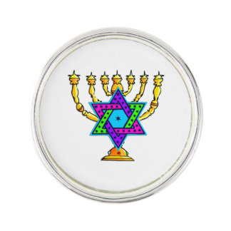 Jewish Candlesticks Lapel Pin