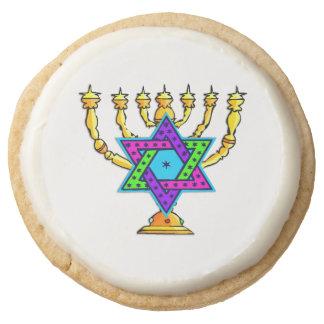 Jewish Candlesticks Round Premium Shortbread Cookie
