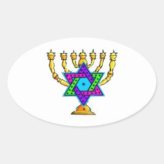 Jewish Candlesticks Oval Sticker