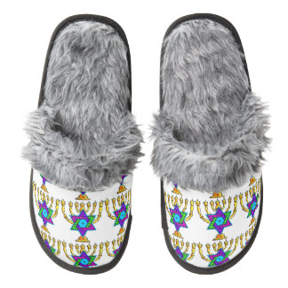 Jewish Candlesticks Pair Of Fuzzy Slippers