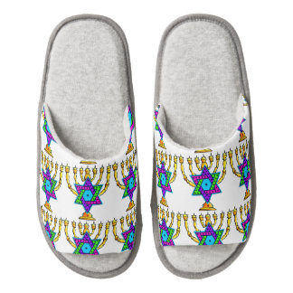 Jewish Candlesticks Pair Of Open Toe Slippers