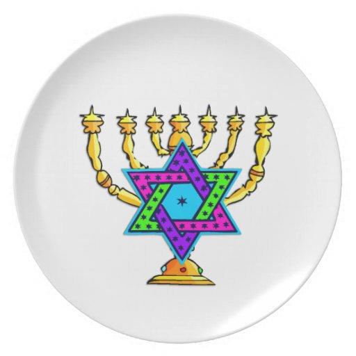 Jewish Candlesticks Party Plate