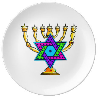 Jewish Candlesticks Porcelain Plate