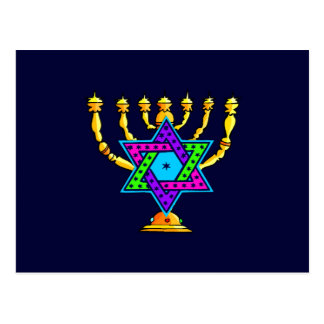 Jewish Candlesticks Postcard