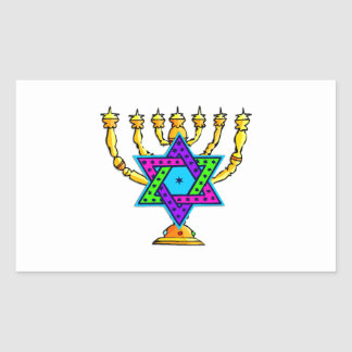 Jewish Candlesticks Rectangular Sticker