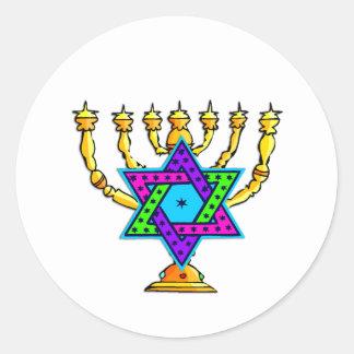Jewish Candlesticks Round Stickers