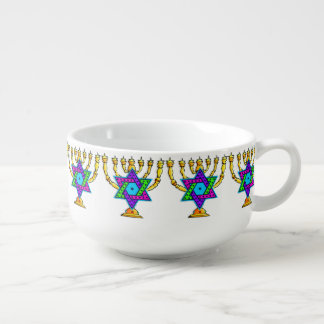 Jewish Candlesticks Soup Bowl With Handle