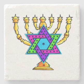 Jewish Candlesticks Stone Beverage Coaster
