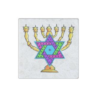 Jewish Candlesticks Stone Magnet