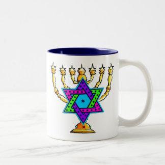Jewish Candlesticks Two-Tone Coffee Mug