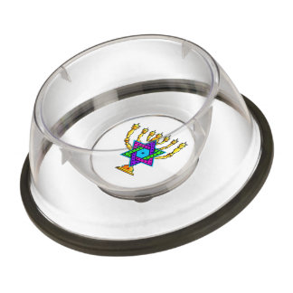 Jewish Candlesticks Pet Bowl
