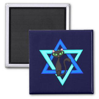 Jewish Cat Stars 2 Inch Square Magnet