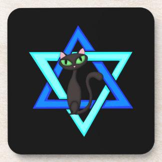 Jewish Cat Stars Beverage Coasters