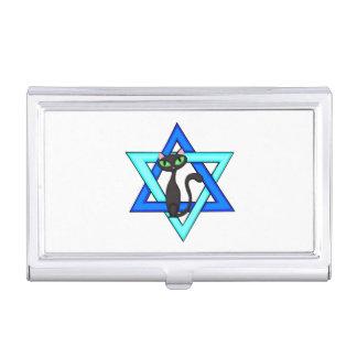 Jewish Cat Stars Business Card Holder