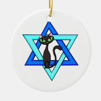 Jewish Cat Stars Ceramic Ornament