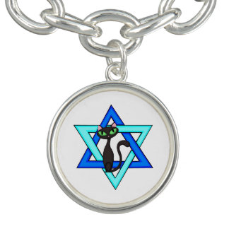 Jewish Cat Stars Charm Bracelet