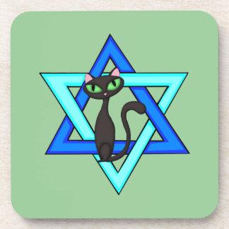 Jewish Cat Stars Drink Coaster