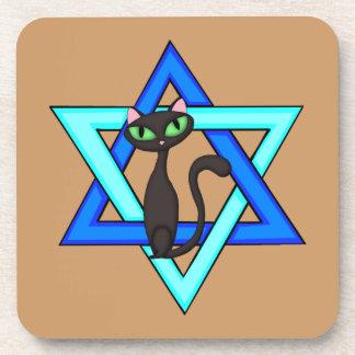 Jewish Cat Stars Drink Coasters