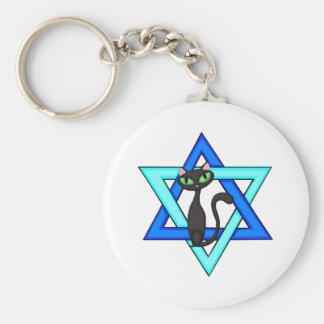 Jewish Cat Stars Keychain