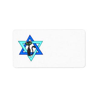 Jewish Cat Stars Address Label