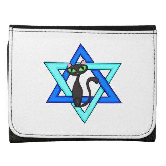 Jewish Cat Stars Leather Trifold Wallets