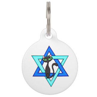 Jewish Cat Stars Pet Name Tag