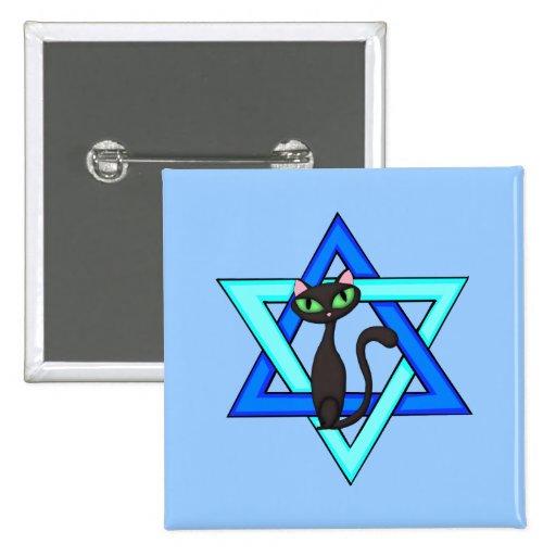 Jewish Cat Stars Pin