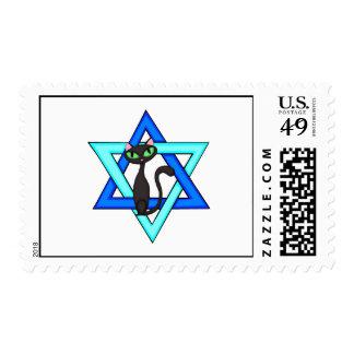 Jewish Cat Stars Postage Stamp