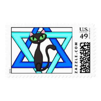 Jewish Cat Stars Postage Stamps