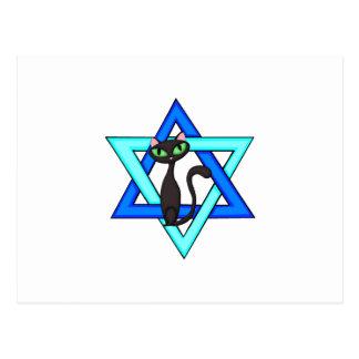 Jewish Cat Stars Postcard