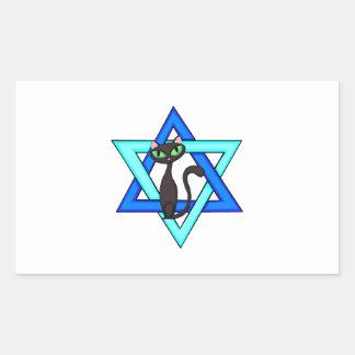 Jewish Cat Stars Rectangular Sticker