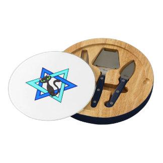 Jewish Cat Stars Round Cheese Board