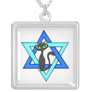 Jewish Cat Stars Silver Plated Necklace