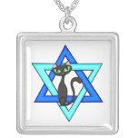 Jewish Cat Stars Square Pendant Necklace