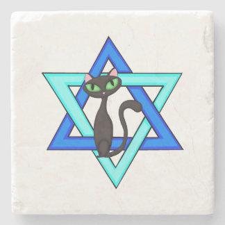 Jewish Cat Stars Stone Beverage Coaster