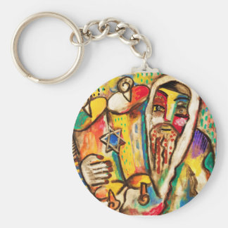 Jewish Celebrations Rejoicing In The Torah Basic Round Button Keychain