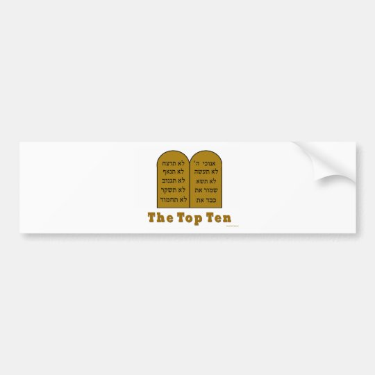 JEWISH COMMANDMENTS TOP TEN GIFTS BUMPER STICKER