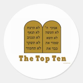 JEWISH COMMANDMENTS TOP TEN GIFTS CLASSIC ROUND STICKER